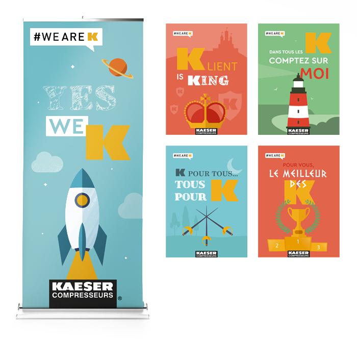 Visuel étude de cas campagne communication Kaeser - affiches et kakémono